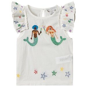 Stella McCartney Kids Mermaids Broderet Bomuld Bluse Hvid 2 years