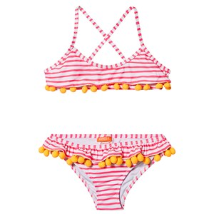 Sunuva Pom-Pom Frill Bikini Hot Pink Stripe 3-4 years