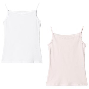 United Colors of Benetton Lace Trim Vest Tops (2 Pack) Pink/White XL (10-11 år)