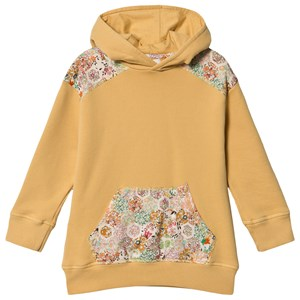 Bonpoint Mustard and Floral Liberty Print Patchwork Hoodie 4 years