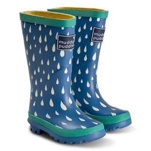 Muddy Puddles Blue Raindrop Print Puddlestomper Gummistøvler 23 (UK 6)