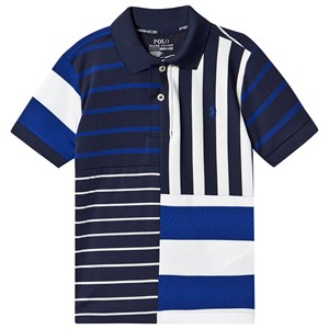 Ralph Lauren Navy Multi Stribe Performance Mesh Polo Skjorte S (8 years)