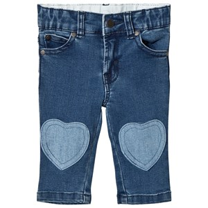 Stella McCartney Kids Blue Jeans with Heart Patches 3 months