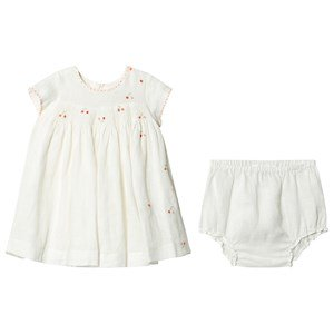 Bonpoint Cherry Kjole Embroidered Smocked Linned 12 months
