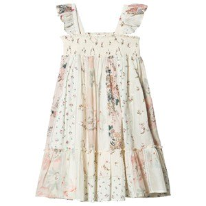 Bonpoint Multi Floral Print Kjole Smocked Ruffle Strappy 4 years