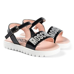 Moschino Kid-Teen Diamante Logo Sandaler Sort 23 (UK 6)