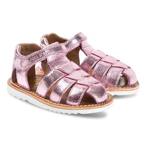 Pom Dapi Pink Metallic Læder Closed Toe Waff Papy Sandaler 21 (UK 4.5)