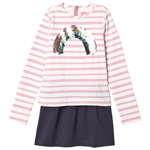 Tom Joule Pink Stripe & Sequin Regnbue Lucy Layered Kjole 11-12 years