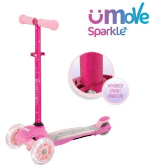 uMoVe Sparkle Mini Flex LED Løbehjul, Pink