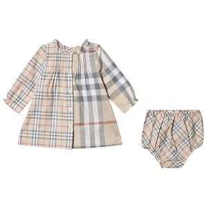 Burberry Contrast Check Kjole Pale Stone 6 months