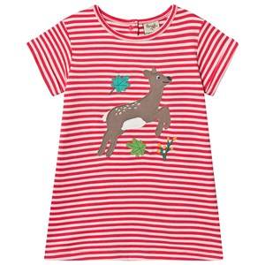 Frugi Deer Stribet T-shirt Pink 2-3 years