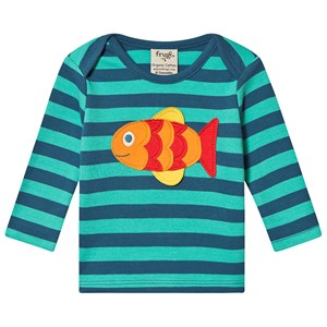 Frugi Fish Stribet T-shirt Blå 0-3 months