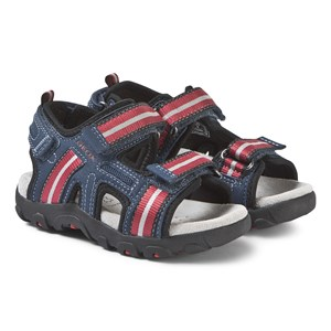 Geox Navy and Red Strada Sandals 37 (UK 4)