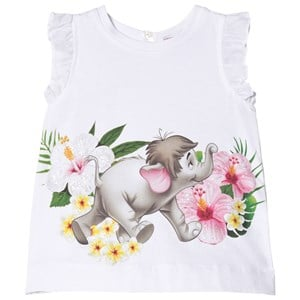 Monnalisa White Baby Elephant Print Tunic with Bow Back 9 months