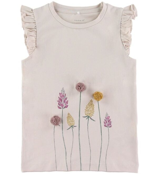 Name It T-shirt - Hillary - Lilac Ash m. Blomster
