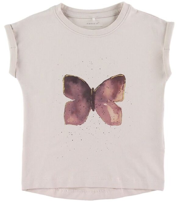Name it T-shirt - Hanny - Lilac Ash m. Sommerfugl