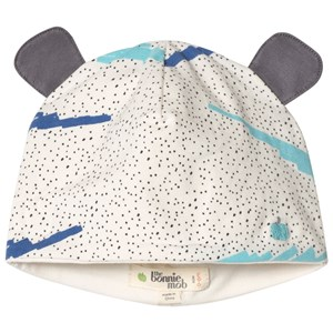 The Bonnie Mob Printed Hat With Ears with Blue Scribble Waves Print 12-24 mdr