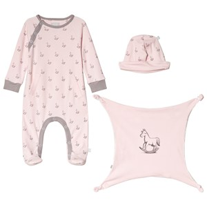 The Little Tailor Pink Hat, Footed Baby Body and Comfort Blanket Gift Set 6-9 months