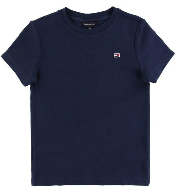 Tommy Hilfiger T-shirt - Global Stripe - Navy m. Tekstur