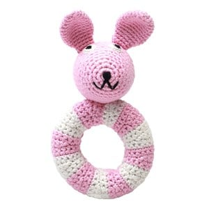 natureZOO Miss Rabbit Pink Ring Rattle One Size