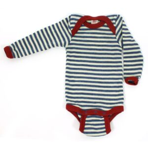 Engel langærmet body i uld - Blue/natural mel, stripe