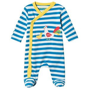 Frugi Billy Swoop Footed Baby Body Bright Blue Breton 0-3 months