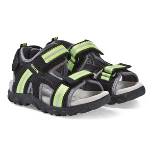 Geox Black and Lime Strada Sandals 28 (UK 10)