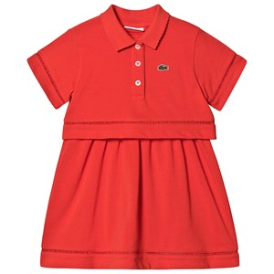 Lacoste Cotton Pique Polo Layered Kjole Lyse Rød 8 years