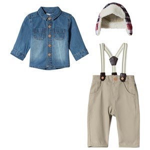Mintini Baby Beige Overalls with Denim Shirt and Check Trapper Hat Set 12 mdr