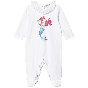 Monnalisa Little Mermaid Print Footed Baby Body White 6 months