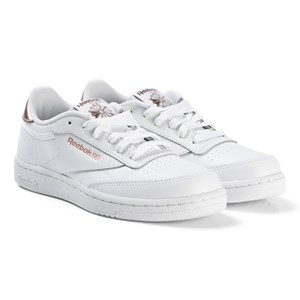 Reebok White and Gold Pink Gold Club Sneakers 35 (UK 3.5)