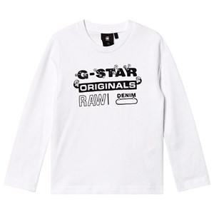 G-STAR RAW Hvid Originals Logo Top med Lange Ærmer 4 years