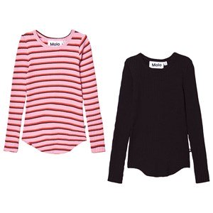 Molo 2-Pack Rochelle T-Shirts Pink/Red Stripe 92/98 cm