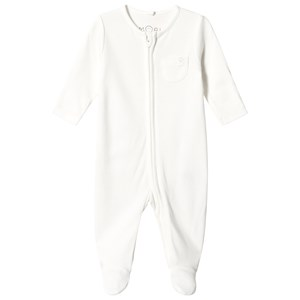 Mori White Zip Up Footed Baby Body 9-12 months