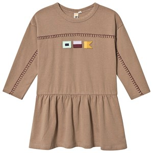 Oii T-Shirt Kjole Flag Patch Taupe 122/128 cm