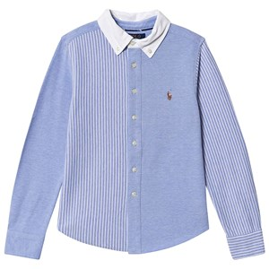 Ralph Lauren Striped Fun Pique Oxford Skjorte Blå/Hvid 5 years