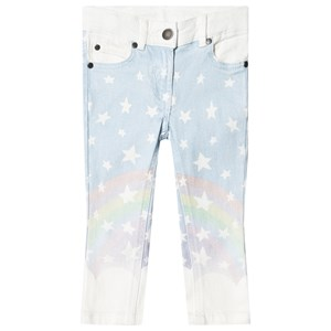 Stella McCartney Kids White and Blue Ombre Rainbow Print Jeans 2 years