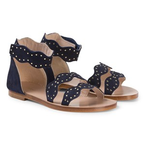 Chloé Navy Leather Scalloped Sandals 33 (UK 1)