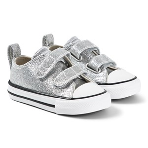 Converse Silver Glitter Chuck Taylor All Star OX Infants Velcro Trainers 20 (UK 4)