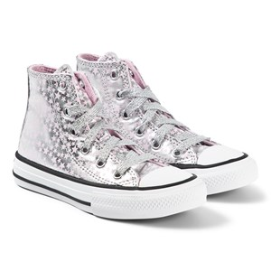 Converse Silver Metallic Pink Chuck Taylor All Star Hi Tops 27 (UK 10)