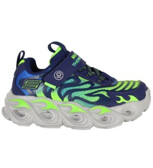 Skechers Sko m. Lys - Boys Thermo Flash - Navy/Neongrøn