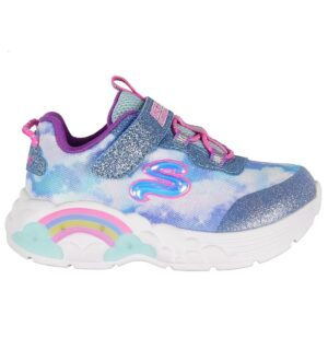 Skechers Sko m. Lys - Rainbow Racer Lights - Blå m. Skyer