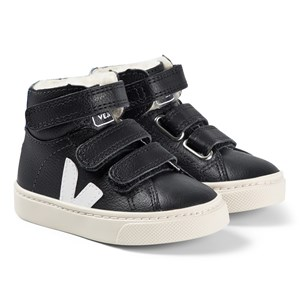 Veja Black Leather Esplar Mid Fur Velcro Trainers 22 (UK 5.5)