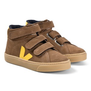 Veja Brown and Yellow Suede Esplar Mid Velcro Trainers 28 (UK 10.5)