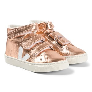 Veja Pink Metallic Leather Esplar Mid Trainers 22 (UK 5.5)