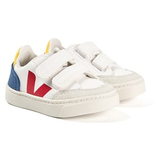 Veja White and Blue Leather V-12 Velcro Trainers 24 (UK 7)