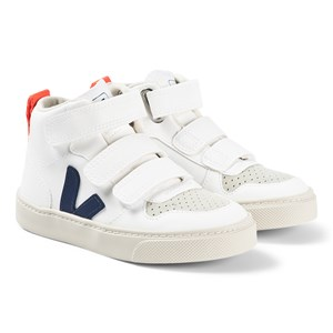 Veja White and Blue Vegan V-10 Mid Velcro Trainers 28 (UK 10.5)