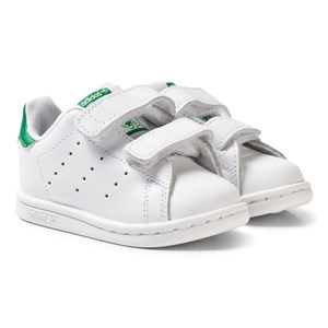 adidas Originals Hvide/Grønne Stan Smith Infants Velcro Sneakers 20 (UK 4)