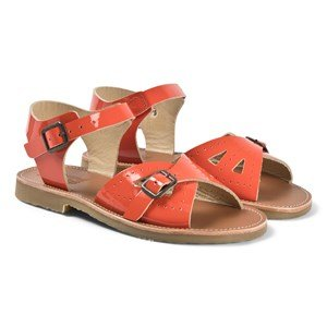 Young Soles Orange Patent Leather Pearl Buckle Strap Sandal 24 (UK 7)