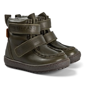 EnFant Velcro Tex Leather Vinterstøvler Army 21 EU